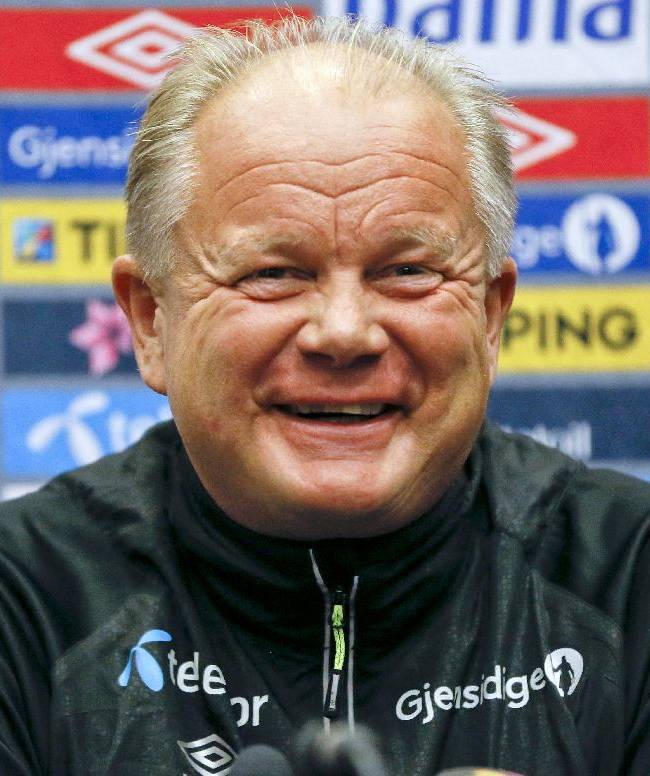 Norway's soccer team manager Per-Mathias Hogmo smiles during a press conference at Wembley Stadium in London, Tuesday, Sept. 2, 2014. England will play Norway in an international friendly soccer match at the stadium on Wednesday