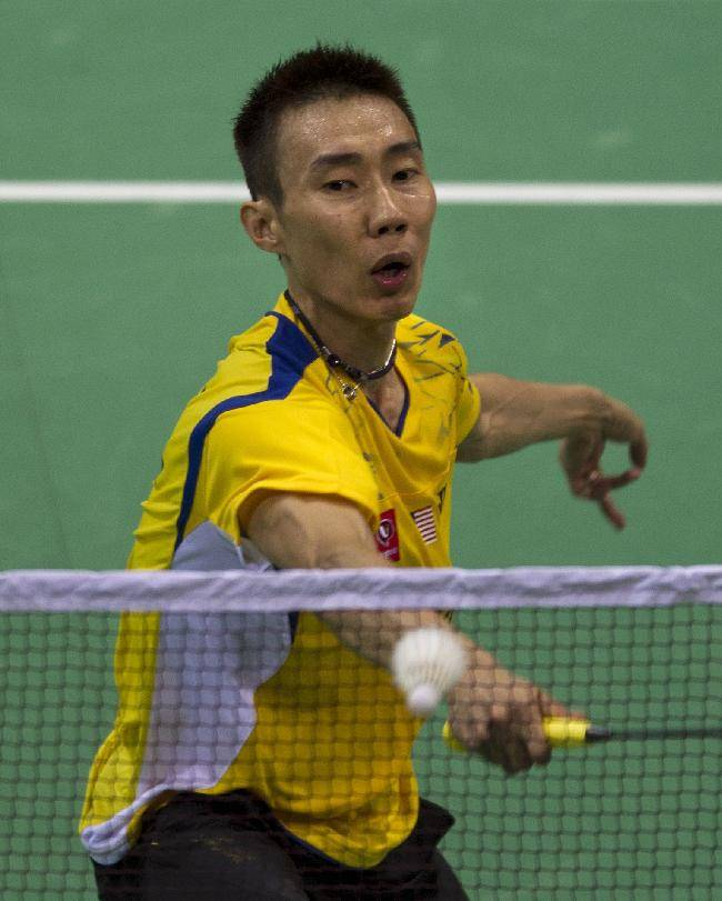 Malaysia's Lee Chong Wei plays against India's K Srikanth during their men's singles event of the Thomas Cup Badminton in New Delhi, India, Sunday, May 18, 2014