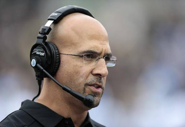 This is a Nov. 16, 2013 file photo showing Vanderbilt head football coach James Franklin watching from the sideline in the first quarter of an NCAA college football game against Kentucky, in Nashville, Tenn. Penn State announced Saturday, Jan. 11, 2014 that it has hired James Franklin as its next head coach. Franklin, 41, who led Vanderbilt to bowls in all three of his seasons there, replaces Bill O'Brien, who left the Nittany Lions after two years to coach the NFL's Houston Texans
