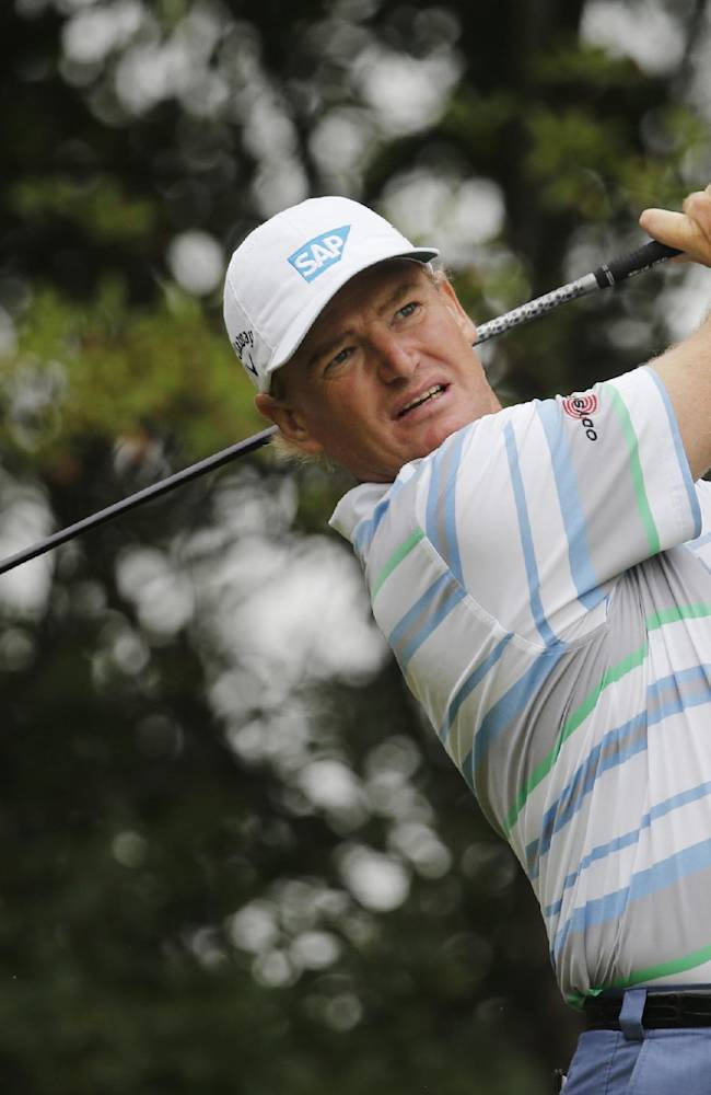 File - In this Thursday, Oct. 31, 2013 file photo,  South African Ernie Els tees off the 9th hole during the first round of the HSBC Champions golf tournament at the Sheshan International Golf Club in Shanghai, China. Els says he is considering cutting his golf schedule even more to spend time with his family, it was announced on Thursday, Dec. 5, 2103. The four-time major winner has already slowed down over the past few years, playing 19 tournaments on the PGA Tour and only seven European Tour events last season