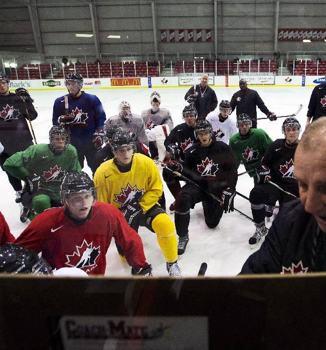 Team Canada head coach Brent Sutter, front right, explains a drill to players during the start of world juniors selection camp in Toronto on Friday, Dec. 13, 2013