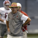Alabama head coach Nick Saban watches offensive drills during NCAA college football practice, Wednesday, Aug. 27, 2014, in Tuscaloosa, Ala The Associated Press
