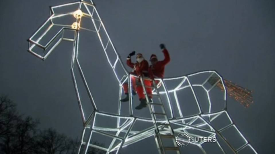 World's largest rocking horse lights up German town