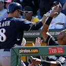 Milwaukee Brewers' Ryan Braun (8) is greeted by teammate Martin Maldonado, right, after hitting a game-tying solo home run off Pittsburgh Pirates closer Jason Grilli during the ninth inning of a baseball game in Pittsburgh Sunday, April 20, 2014. The Brew
