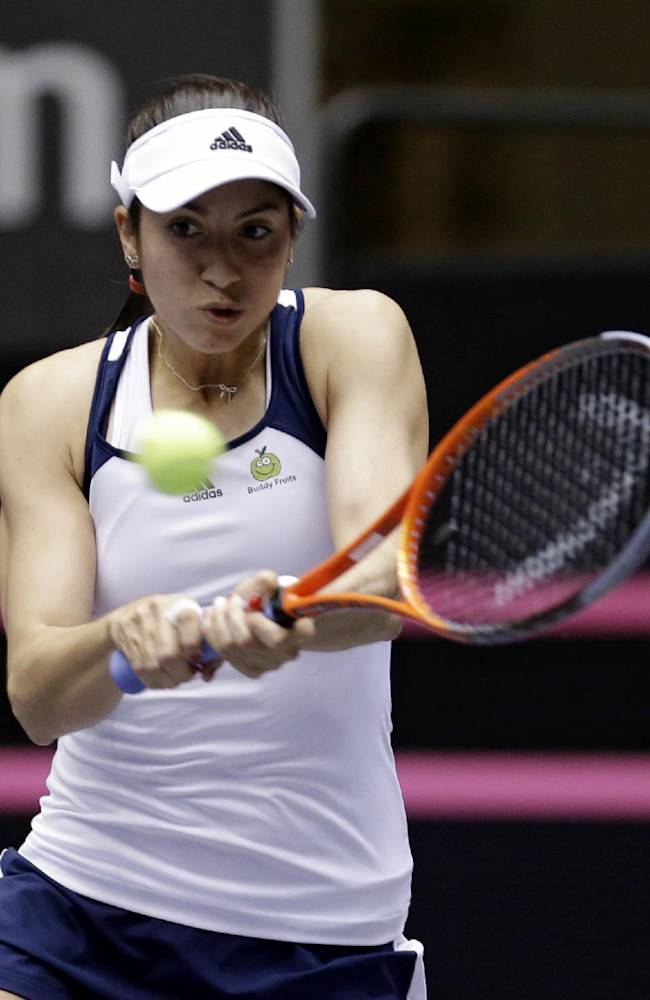 United States' Christina McHale returns the ball to Italy's Karin Knapp during a Fed Cup world group tennis match Saturday, Feb. 8, 2014, in Cleveland