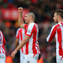 Stoke City's Jonathan Walters celebrates scoring the first goal of the game during their English Premier League soccer match against Queen's Park Rangers at The Britannia Stadium, Stoke-on-Trent, England, Saturday, Jan. 31, 2015