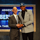 NEW YORK, NY - JUNE 25: Karl-Anthony Towns poses with Commissioner Adam Silver after being drafted first overall by the Minnesota Timberwolves in the First Round of the 2015 NBA Draft at the Barclays Center on June 25, 2015 in the Brooklyn borough of New York City. (Photo by Elsa/Getty Images)