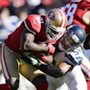 San Francisco 49ers running back Frank Gore (21) is tackled by Seattle Seahawks' middle linebacker Bobby Wagner (54) in the first half of an NFL football game on Sunday, Dec. 8, 2013, in San Francisco The Associated Press