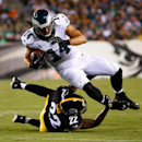 Philadelphia Eagles' Riley Cooper (14) is tackled by Pittsburgh Steelers' William Gay (22) during the first half of an NFL preseason football game, Thursday, Aug. 21, 2014, in Philadelphia. (AP Photo/Matt Rourke)