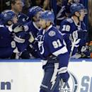 Tampa Bay Lightning center Steven Stamkos (91) celebrates his goal against the New York Rangers with the bench during the first period of an NHL hockey game Wednesday, Nov. 26, 2014, in Tampa, Fla. (AP Photo/Chris O'Meara)