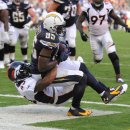 San Diego Chargers tight end Antonio Gates, top, scores under pressure by Denver Broncos strong safety T.J. Ward during the second half in an NFL football game Sunday, Dec. 14, 2014, in San Diego The Associated Press