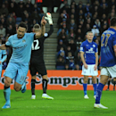 Manchester City's Frank Lampard, left, celebrates after scoring against Leicester during the English Premier League soccer match between Leicester City and Manchester City at King Power Stadium, in Leicester, England, Saturday, Dec. 13, 2014