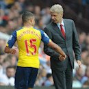 Arsenal manager Arsene Wenger, right, talks to Alex Oxlade-Chamberlain as he is substituted during the English Premier League soccer match between Aston Villa and Arsenal at Villa Park, Birmingham, England, Saturday, Sept. 20, 2014