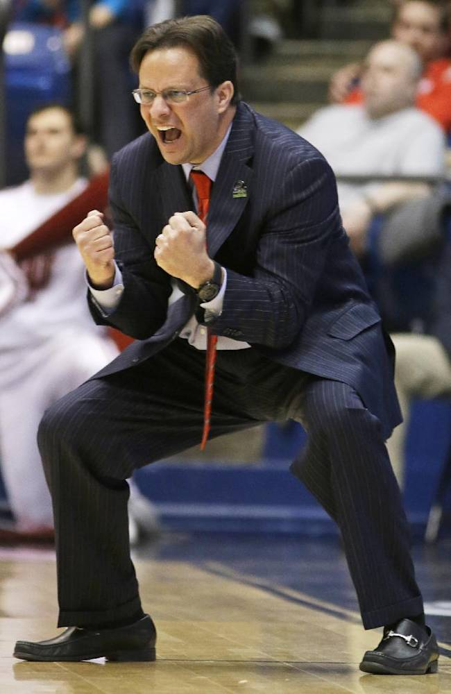 Indiana coach Tom Crean urges on his players in the second half of a second-round game against James Madison at the NCAA men's college basketball tournament, Friday, March 22, 2013, in Dayton, Ohio