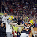 Green Bay Packers' Jordy Nelson, left, is congratulated by Green Bay Packers' Clay Matthews after scoring a touchdown during the first half of the NFL Football Pro Bowl Sunday, Jan. 25, 2015, in Glendale, Ariz The Associated Press