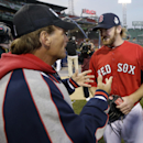 Boston Red Sox's Ryan Dempster talks to Doug Flute before Game 6 of baseball's World Series against the St. Louis Cardinals Wednesday, Oct. 30, 2013, in Boston The Associated Press