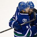 Vancouver Canucks' Chris Tanev, left, and Chris Higgins celebrate Tanev's goal against the Los Angeles Kings during second period of an NHL hockey game, in Vancouver, British Columbia, Monday Nov. 25, 2013 The Associated Press