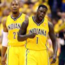 FILE - JULY 16: According to reports July 16, 2014, the Charlotte Hornets have signed Lance Stephenson to a 3-year $27 million deal. INDIANAPOLIS, IN - MAY 20: Lance Stephenson #1 of the Indiana Pacers celebrates after making a basket against the Miami Heat during Game Two of the Eastern Conference Finals of the 2014 NBA Playoffs at at Bankers Life Fieldhouse on May 20, 2014 in Indianapolis, Indiana. (Photo by Andy Lyons/Getty Images)