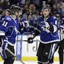 Tampa Bay Lightning defenseman Mark Barberio (8) celebrates with teammate Tom Pyatt (11) after scoring against the Boston Bruins during the second period of an NHL hockey game on Saturday, March 8, 2014, in Tampa, Fla. (AP Photo/Chris O'Meara)
