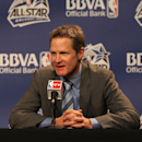 Coach Steve Kerr of Team Shaq responds to reporters during a press conference prior to the BBVA Rising Stars Challenge as part of 2012 All-Star Weekend at the Amway Center on February 24, 2012 in Orlando, Florida. (Photo by Gary Dineen/NBAE via Getty Images)