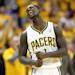 INDIANAPOLIS, IN - MAY 18:  Lance Stephenson #1 of the Indiana Pacers celebrates in the game against the New York Knicks during Game Six of the Eastern Conference Semifinals of the 2013 NBA Playoffs at Bankers Life Fieldhouse on May 18, 2013 in Indianapolis, Indiana.The Pacers won 106-99. (Photo by Andy Lyons/Getty Images)