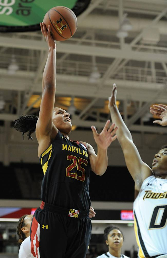 Maryland's Alyssa Thomas, left, shoots over Towson's Latorri Hines-Allen in the first half of an NCAA college basketball game onSaturday, Nov. 23, 2013, in Towson, Md