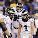 Philadelphia Eagles kicker Cody Parkey (1) celebrates with Donnie Jones (8) and James Casey (85) after Parkey kicked a 36-yard field goal to defeat the Indianapolis Colts in an NFL football game Monday, Sept. 15, 2014, in Indianapolis. Philadelphia won 30-27. (AP Photo/Michael Conroy)