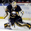 Buffalo Sabres goaltender Jhonas Enroth, of Sweden, watches an incoming shot during the second period of an NHL hockey game against the Nashville Predators in Buffalo, N.Y., Tuesday, March 11, 2014 The Associated Press