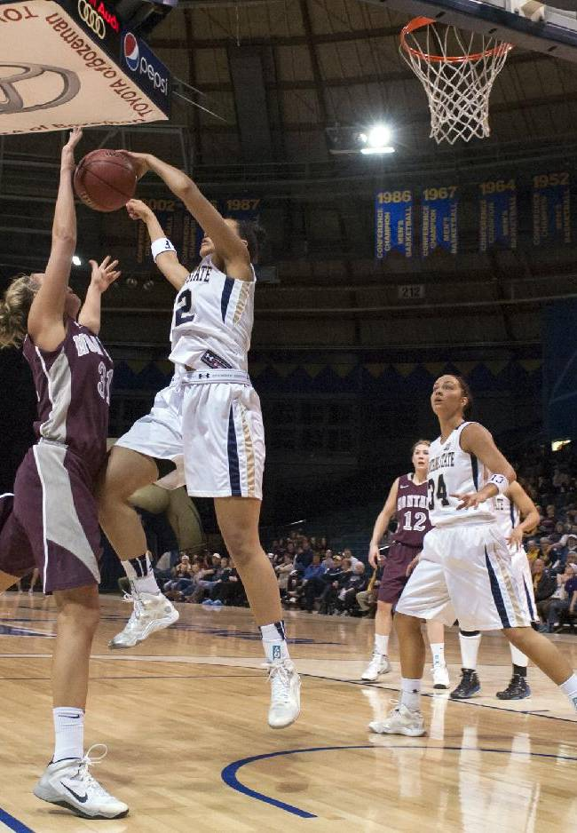 In this photo provided by Montana State University, Montana State forward Alexa Dawkins, second from left, blocks a shot by Montana forward Jordan Sullivan during the first half of an NCAA college basketball game Monday, March 3, 2014, in Bozeman, Mont