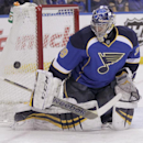 St. Louis Blues goalie Ryan Miller (39) makes a stick save during the first period of an NHL hockey game against the Washington Capitals, Tuesday, April 8, 2014, in St. Louis The Associated Press