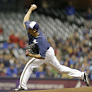 Milwaukee Brewers starting pitcher Matt Garza throws to the Kansas City Royals in the first inning of an exhibition baseball game Friday, March 28, 2014, in Milwaukee The Associated Press