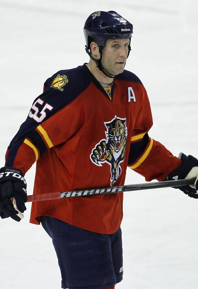 Florida Panthers defenseman Ed Jovanovski (55) is shown during the second period of an NHL hockey game against the Vancouver Canucks, Monday, Jan. 9, 2012, in Sunrise, Fla