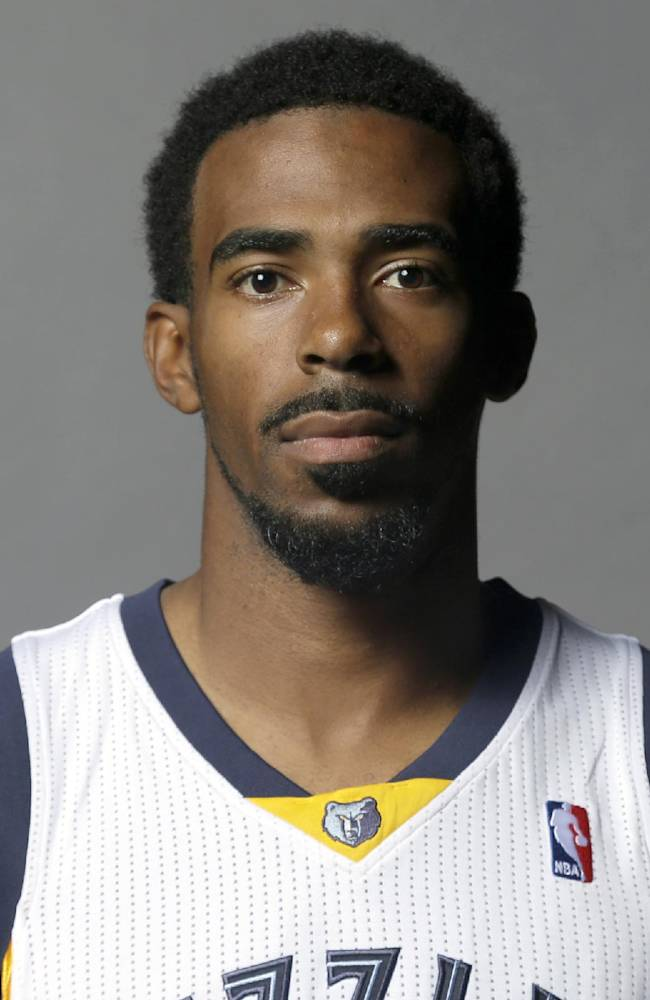 This is a Sept. 30, 2013 file photo showing Memphis Grizzlies' Mike Conley posed at the team's NBA basketball media day in Memphis, Tenn. Conley has won the NBA's Joe Dumars Trophy for sportsmanship, Thursday, April 24, 2014