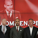 New FC Bayern Munich head coach Pep Guardiola, 2nd left, poses besides sports director Matthias Sammer, left, CEO Karl-Heinz Rummenigge, 2nd right, and president Uli Hoeness as he arrives for a news conference in Munich, southern Germany, Monday, June 24, 2013. (AP Photo/Matthias Schrader)