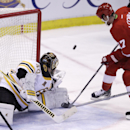 Boston Bruins goalie Tuukka Rask of Finland deflects a shot by Detroit Red Wings center David Legwand (17) during the third period of Game 3 of a first-round NHL hockey playoff series in Detroit, Tuesday, April 22, 2014 The Associated Press