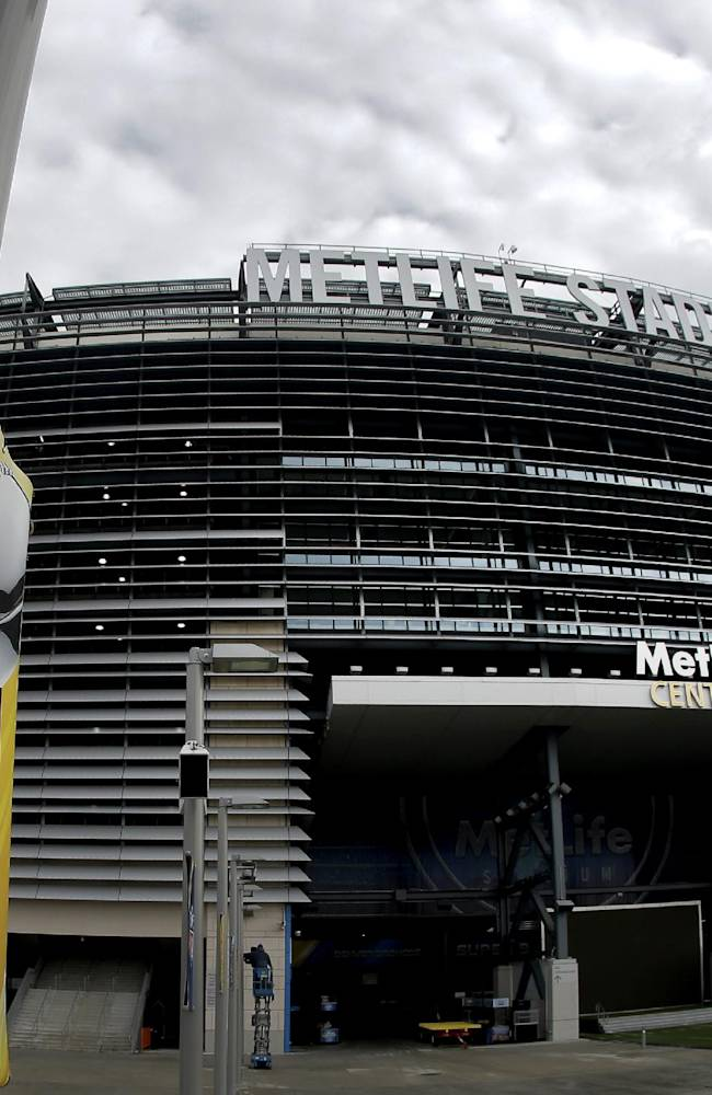 A banner is seen outside MetLife Stadium Monday Jan. 27, 2014, in East Rutherford, N.J. The stadium will host   Sunday's NFL Super Bowl XLVIII football game between the Denver Broncos and the Seattle Seahawks