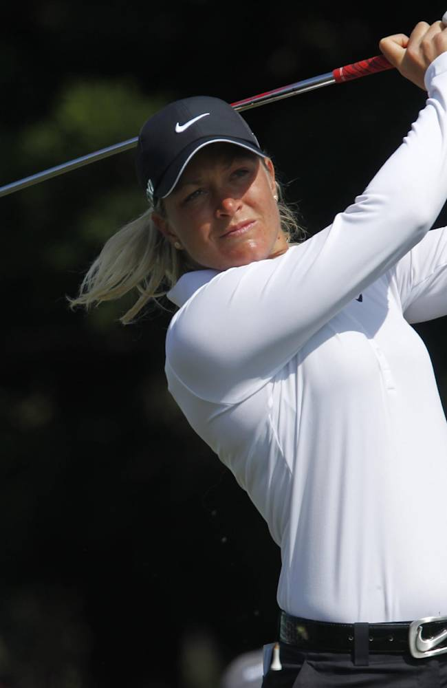 Suzann Pettersen of Norway, tees off the the 2nd hole during the LPGA Taiwan Championship tournament at the Sunrise Golf & Country Club, Sunday, Oct. 27, 2013, in Yangmei, northern Taiwan. Pettersen finished the tournament with 9 under par with total of 279