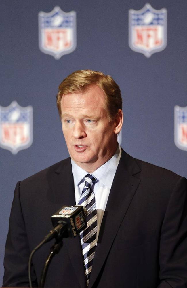 NFL Commissioner Roger Goodell voices support to help grow youth football during a news conference at the NFL annual meeting in Orlando, Fla., Monday, March 24, 2014