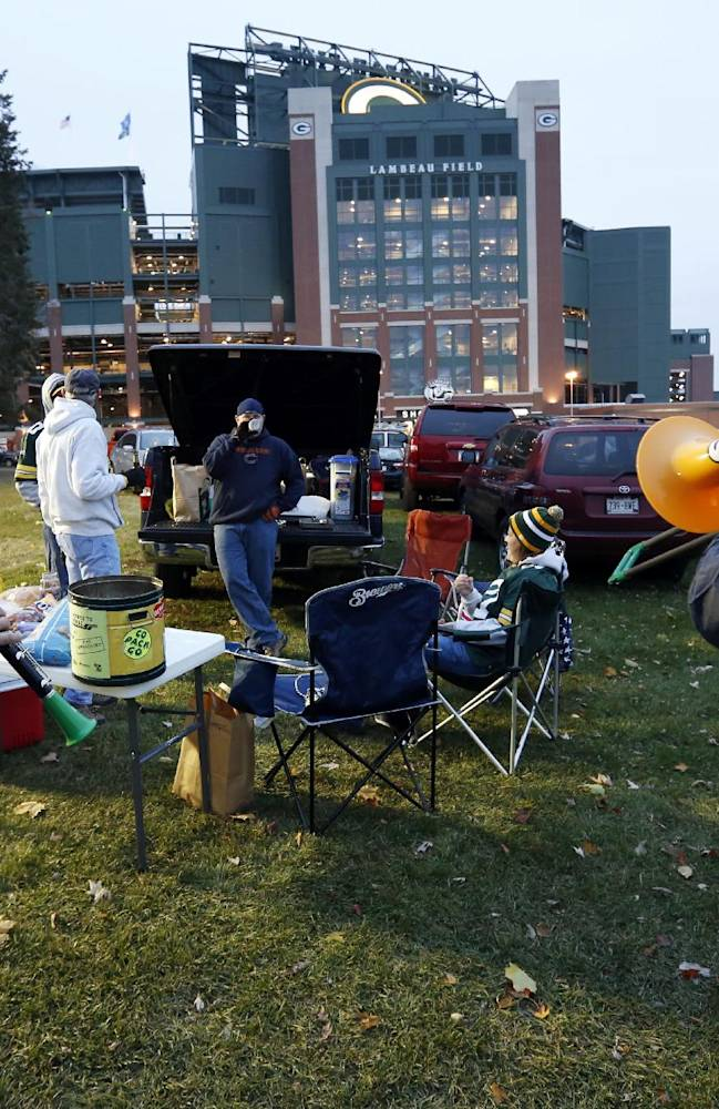 The Packers Tailgate Band plays outside Lambeau Field before NFL football game between the Green Bay Packers and the Chicago Bears Monday, Nov. 4, 2013, in Green Bay, Wis