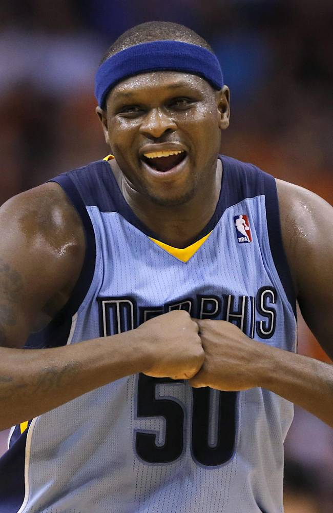 Memphis Grizzlies' Zach Randolph smiles during the second half of an NBA basketball game against the Phoenix Suns, Monday, April 14, 2014, in Phoenix. The Grizzlies won 97-91