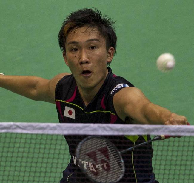 Japan's Kento Momota plays against Malaysia's Chong Wei Feng during their singles final match of the Thomas Cup badminton championships in New Delhi, India, Sunday, May 25, 2014. The Japanese won, 21-15, 21-17