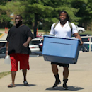 Kansas City Chiefs defensive tackle Dontari Poe, right, moves in before NFL football training camp on Wednesday, July 23, 2014, in St. Joeph, Mo The Associated Press