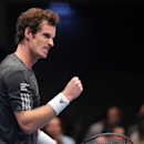 Andy Murray of Britain celebrates a point during the final match against David Ferrer from Spain at the Erste Bank Open tennis tournament in Vienna, Austria, Sunday, Oct. 19. 2014. (AP Photo/Ronald Zak)