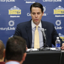 Josh Kroenke, president of the NBA Denver Nuggets, talks about the firing of coach George Karl and the future of the Nuggets at a news conference at the Pepsi Center in Denver on Friday, June 7, 2013. (AP Photo/Ed Andrieski)