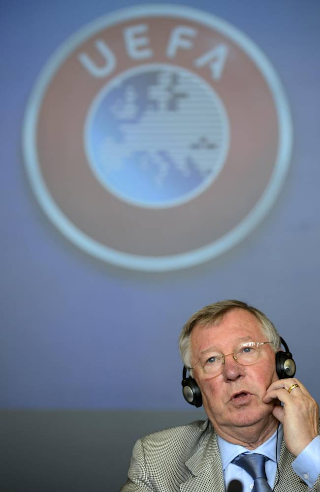 Former Manchester United soccer manager and UEFA coaching Ambassador Alex Ferguson speaks during a press conference about the 16. Elite Club Coaches Forum at the UEFA Headquarters in Nyon, Switzerland, Thursday, Sept.4, 2014