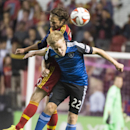 Real Salt Lake midfielder Ned Grabavoy (20) collides with San Jose Earthquakes midfielder Tommy Thompson (22) during an MLS soccer game Saturday, Oct. 11, 2014, in Sandy, Utah The Associated Press
