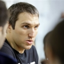 Washington Capitals captain and left wing Alex Ovechkin, from Russia, speaks during a media availability at their NHL hockey 