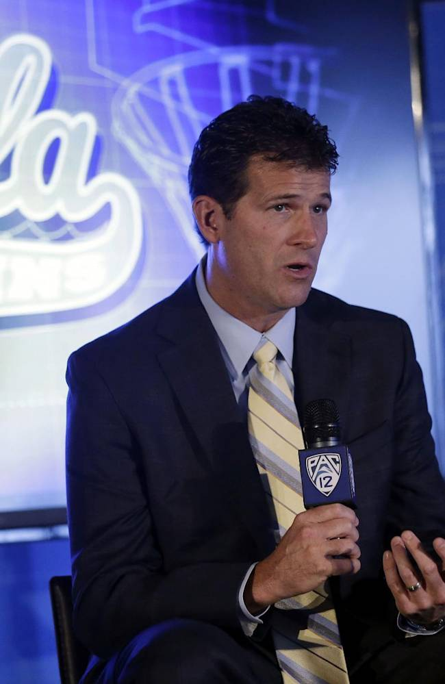 UCLA head coach Steve Alford answers questions during the Pac-12 NCAA college basketball media day on Thursday, Oct. 17, 2013, in San Francisco