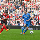 Southampton's Graziano Pelle scores his second goal during their English Premier League soccer match against Sunderland at St. Mary's Stadium, Southampton, England, Saturday, Oct. 18, 2014