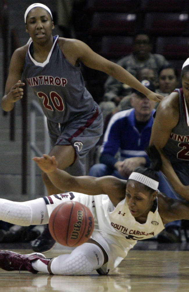 No. 10 South Carolina women top Winthrop 69-61